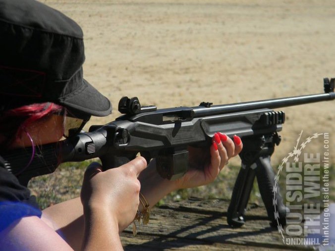 Sniper stock installed on a civilian 10/22 during a demo.