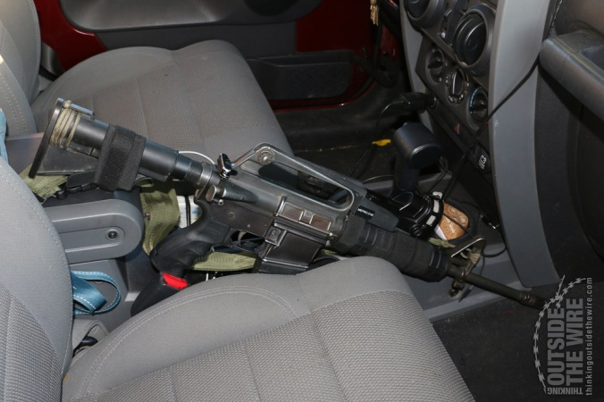 AR-15 Carbine in a Jeep.